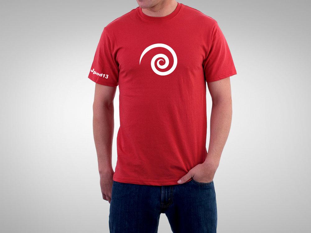 Camiseta roja JPod13, la que lució el STAFF de la organización