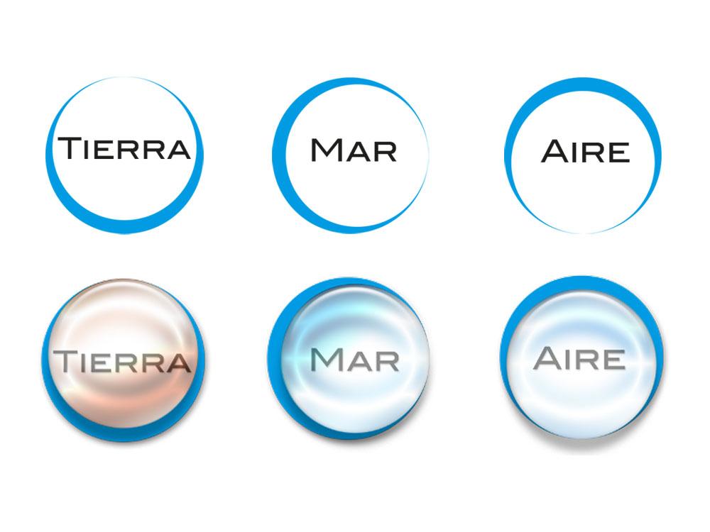 Iconos para la web de Perseo, logística por tierra mar y aire.
