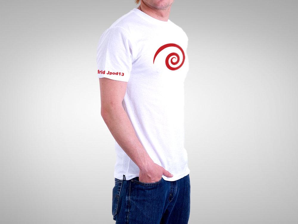 Camiseta blanca Jpod13, la que se entregó a todos los visitantes
