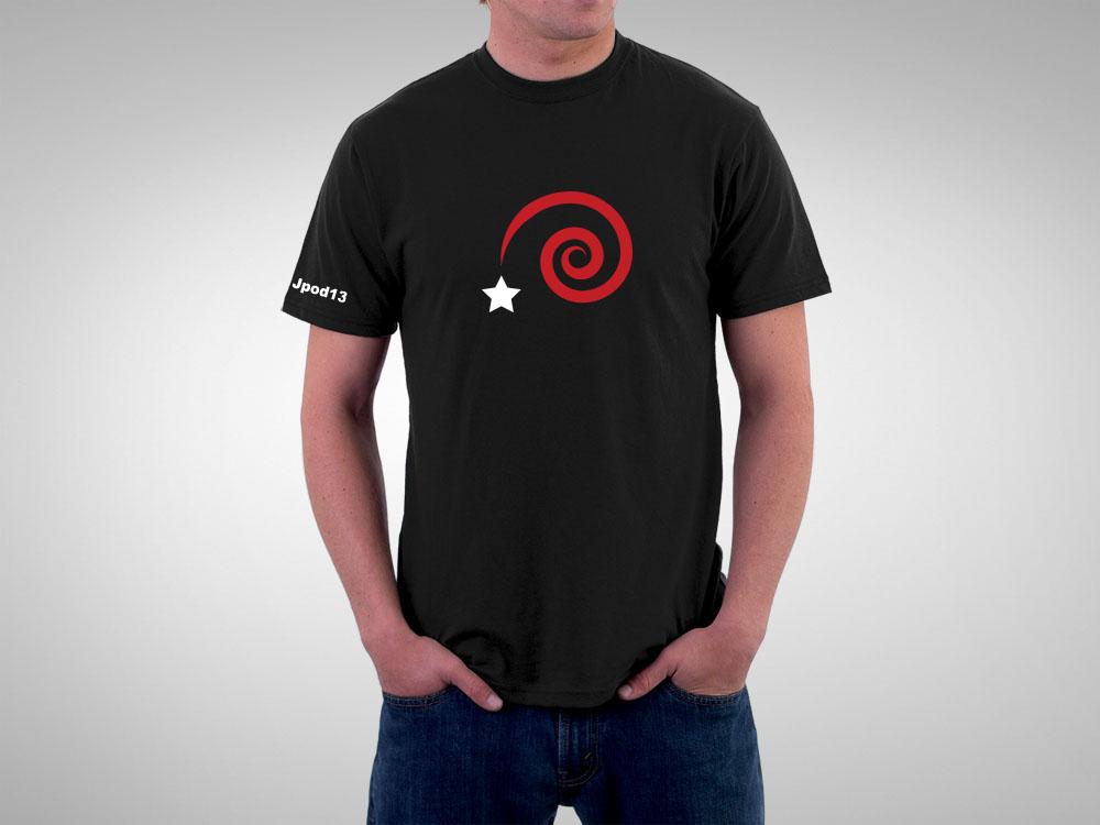 Camiseta negra Jpod13, diseño especial para colaboradores del crowfunding de las jornadas
